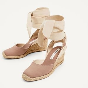 ZARA dusty rose espadrilles wide lace up wedge